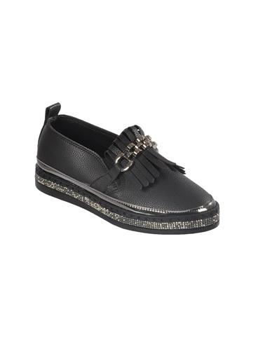 Mhd Mhd 2521 Püskül Ve Taş Detaylı Günlük Kadın Ayakkabı Siyah